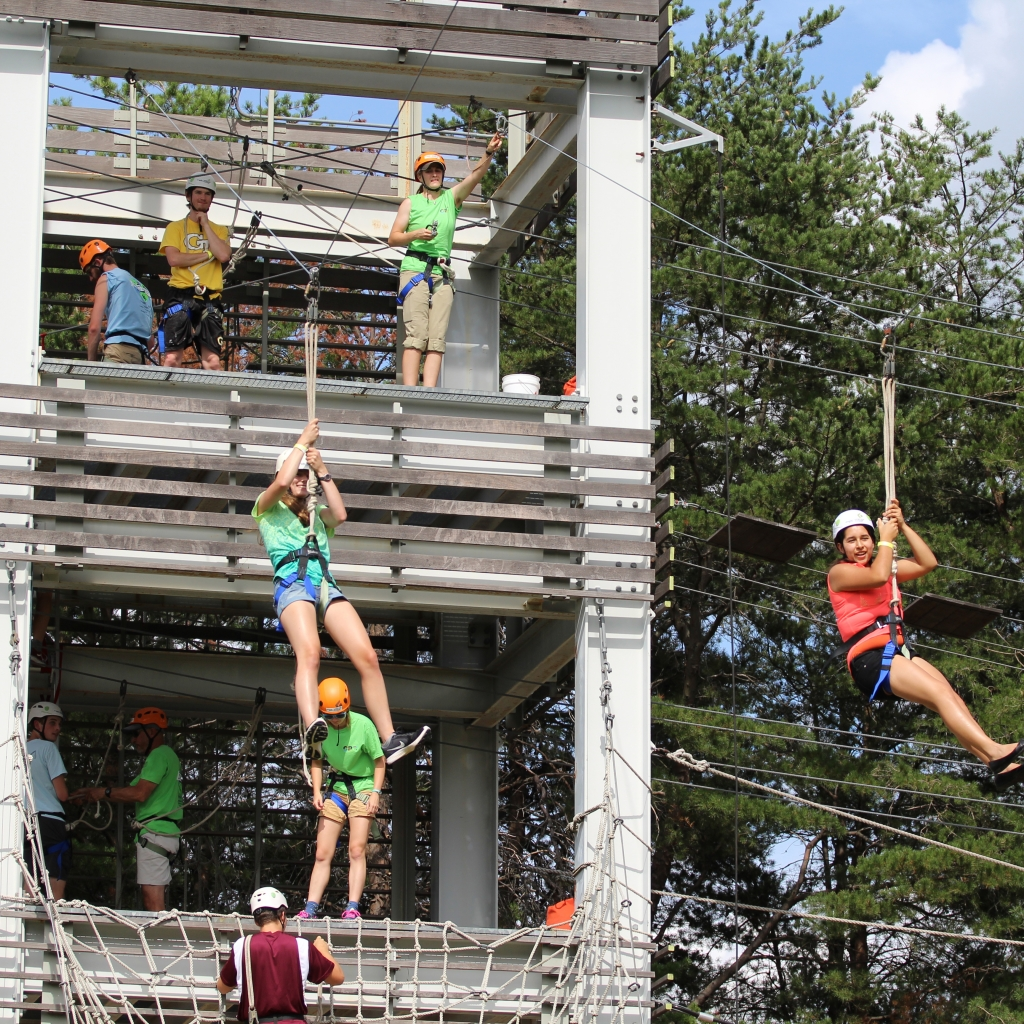 Students on zipline at Leadership Challenge Course