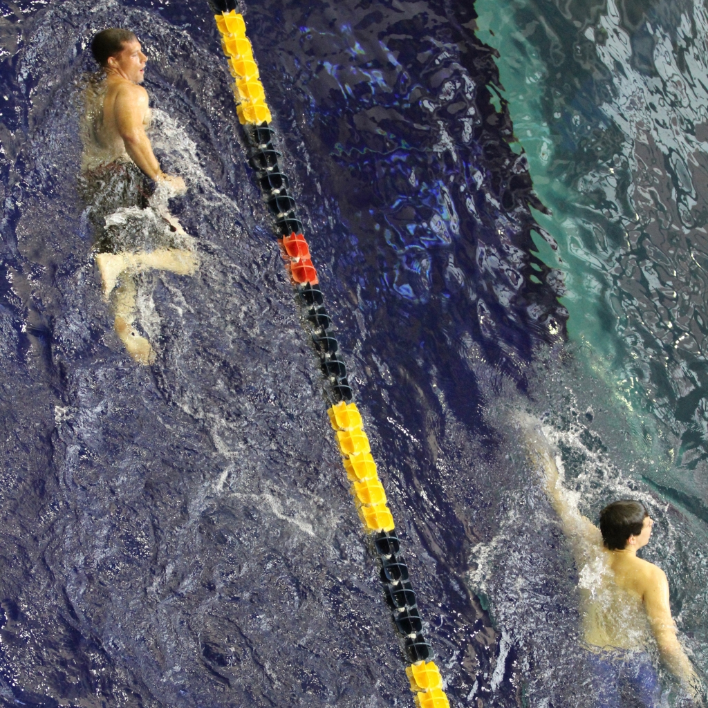Two swimmers in pool